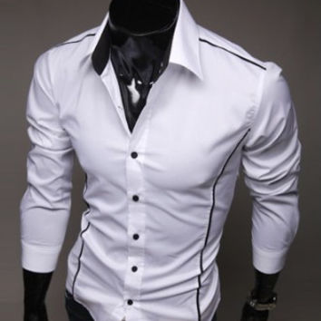 Mens Slim Fashionable Outer Lines Dress Shirt