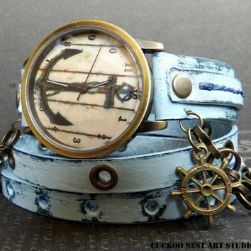 Ocean Blue Anchor Wrap around Watch, Womens leather watch, Bracelet Watch, Chain Wrist Watch, Distressed Fashion Watch