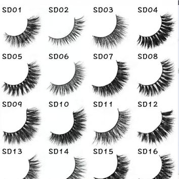 16styles Mink Lashes 3D Mink Eyelashes Natural False Eyelashes 1 pair Handmade Fake Eye Lashes Extension for Beauty Makeup -13