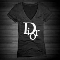 Dior Vneck TShirt for Women In Black With by FashionCoutureCo