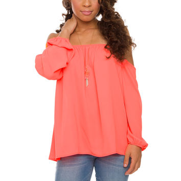 Hey Love Top - Neon Coral
