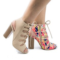 Stash01V By Sully's, Peep Toe Cut Out Corset Lace Up Heeled Sandals