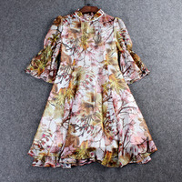 Casual Floral Printed Mesh Collar Ruffle Sleeve Mini Dress