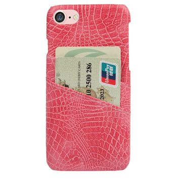 CROC CARD HOLDER PHONE CASE PINK