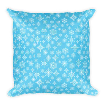 Light Blue Snowflake Pattern Pillow