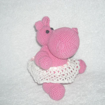 Cute Hippo Gloria. Amigurumi crochet hippo Crochet Stuffed Doll Toy