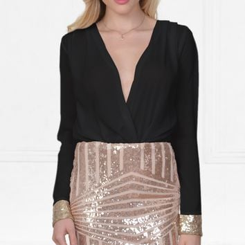 Statement Maker Black Gold Long Sleeve Cross Wrap V Neck Geometric Sequin Mini Dress