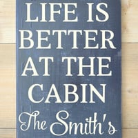 Personalized Cabin Sign Family Name Wooden Signs River Mountain Lake Lodge House Gift Life Is Better