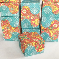 12 Bohemian Lotus Print Favor Boxes for Weddings, Birthday Parties, Bridal Showers, Baby Showers, Candy Box, Gift Box, Jewelry Box