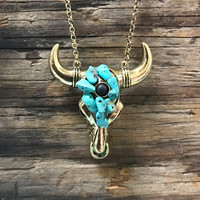 Stone Steer Head Necklace