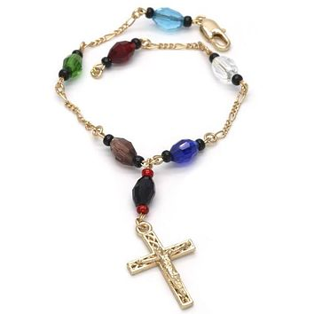 Gold Plated 03.08.0138.1.08 Fancy Bracelet, Crucifix Design, with Black Azavache, Multicolor Resin Finish, Golden Tone