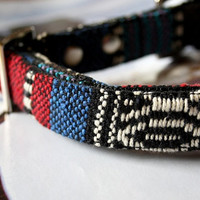 Blue Red Mexican Woven Dog Collar 3/4 Inch Wide -E-