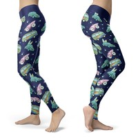 Hippie Vans, Cars and Bicycles with Surf Board Leggings