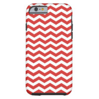 Tomato Red And White Zigzag Chevron Pattern iPhone 6 Case