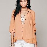 Free People Womens Ruffled Hem Buttondown