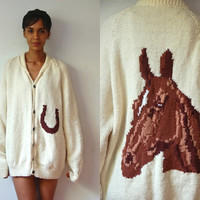 Vtg Hand Knit Wool Horse Print Long Off White Buttoned Sweater