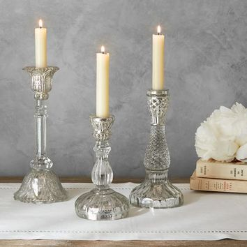 Eclectic Candlestick - Mercury & Glass
