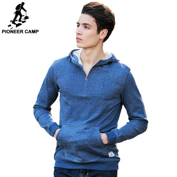 Fashion 100% cotton High Quality Hoodies Men clothing Casual Male Hood Zipper Long sleeved Sweatshirt