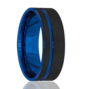 Mens Wedding Band - Tungsten Wedding Band - Black Tungsten Brushed - Thin Side Blue Groove Flat Edge - Tungsten Wedding Ring - Man Tungsten Ring - 8mm
