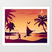 Sunset, The Girl with the Paddle,  Maui and the Canoe Art Print by studiomarshallarts
