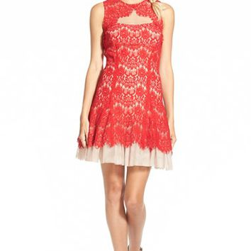 Junior Women's Steppin Out Illusion Lace Fit and Flare Dress,
