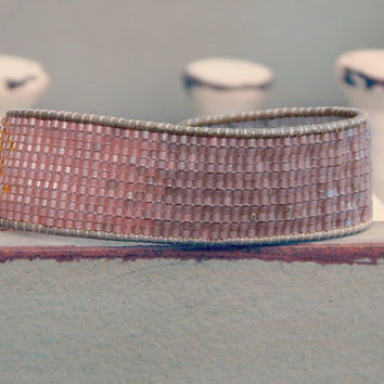 Ombre Copper to Silver tone Hand Beaded Cuff Bracelet, Loom Woven ombre bracelet, Bridesmaid gift