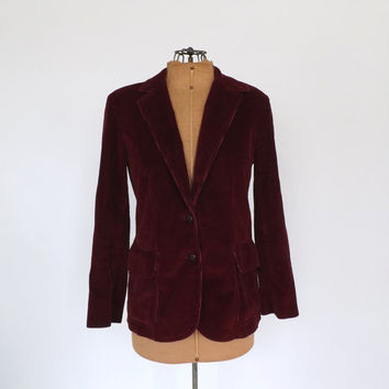 Vintage 1970s 80s Burgundy Red Corduroy Blazer Suit Coat Fitted Fall Jacket Preppy Small Oxford 1940s Cotton Maroon Travel Suit Boho