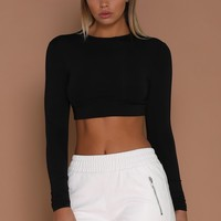 Mila Long Sleeve Crop - Black