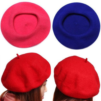 Women's Soft Warm Wool Classic Berets Felt French Artist Beanies Tam Baggy Hats Ski Caps = 1958091780