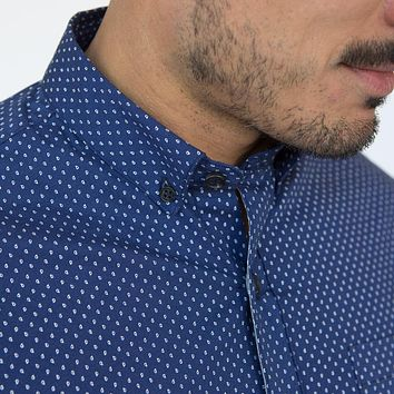 Navy Blue with Mini Paisley Print Shirt - Parke