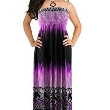Peach Couture Exotic Beaded Tie Dye Printed Self Tie Halter Vacation Maxi Dress