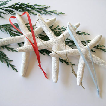 Starfish Ornaments, Set of 3 Starfish Christmas Ornaments, Home and Living, Coastal Beach Nautical Christmas Decor