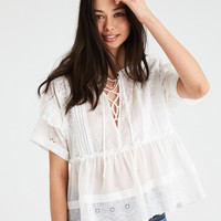 AE LACE-UP EYELET TOP, White