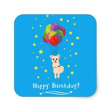 Puppy with Balloons Square Sticker