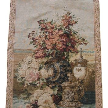"DaDa Bedding Rose Radiance Floral Elegant Woven Fabric Baroque Tapestry Wall Hanging - 28"" x 43"""