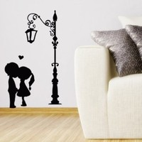 Wall Vinyl Decal Sticker Art Design Happy Valentine S Day Card with Kissing Couple Room Nice Picture Decor Hall Wall Chu926