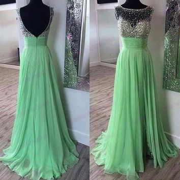 2014 Handmade Sequins Prom Dress,Long Wedding Dress,Sleeveless Wedding Dress,Backless Wedding Dress,Scoop Wedding Gowns Custom Made