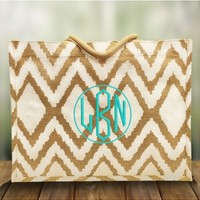 Monogrammed White and Natural Cailyn Jute Tote Bag