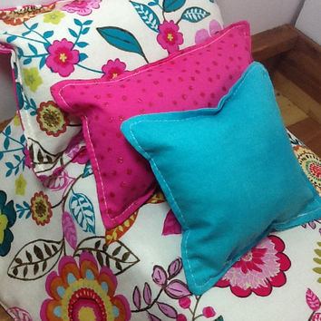 Doll Bedding, 18 inch doll size, pink flower print on creamy white, 3 pillows in pinks and teal, quatrefoil, bed cover, little girl gift