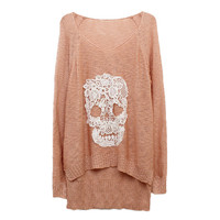 FloralGarden — Lace Batwing Knit With Skulls Motif