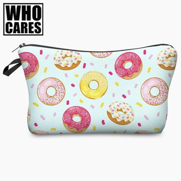 Donut Light Pink Mint Doodle 3D Print Cosmetic Bag Women Makeup Organizer 2017 Who Cares Cosmetic Case Travel Storage Neceser