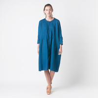 MILL MERCANTILE - Kapital - French Cloth Linen Pin Tuck O'Keeffe Dress in Indigo