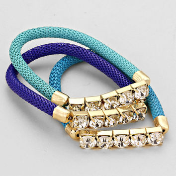 Triple Layered Crystal Mesh Different Hues Of Blues Bracelet