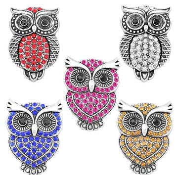 Rivca Snap Button Jewelry Newest DIY 18mm Mixcolour owl crab Crown Snap Button Fit Charm leather alloy fashion Bracelet jewelery