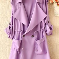Pure color easy draw string waist long sleeve trench coat from Fanewant