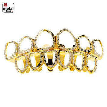 Jewelry Kay style Men's Diamond CUT Grillz Six Open Face Gold Toned Teeth Top & Bottom LS001 6F C4