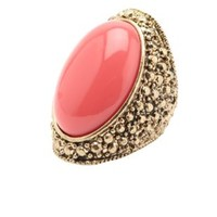 Oval Stone Embossed Cocktail Ring by Charlotte Russe - Coral