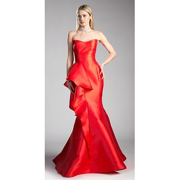 Red Mermaid Strapless Prom Gown with Ruffles