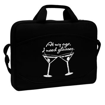 """At My Age I Need Glasses - Martini Distressed 15"""" Dark Laptop / Tablet Case Bag by TooLoud"""