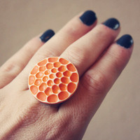 $18.00 orange honeycomb cab ring by RootsandFeathers on Etsy